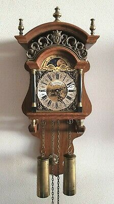 Warmink Sallander Clock Dutch Oak Case Vintage Bell Strike Moonphase Pendulum