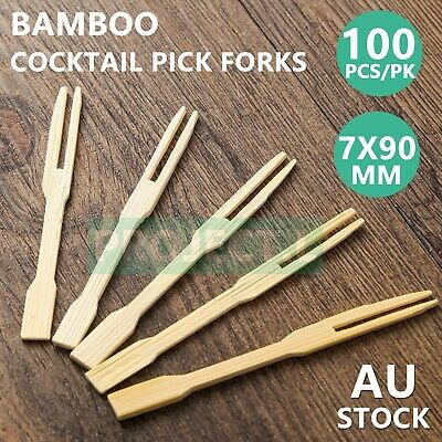 100Pcs Bamboo Catering Forks Sticks Pick Cocktail Picnic Party Finger Food BBQ