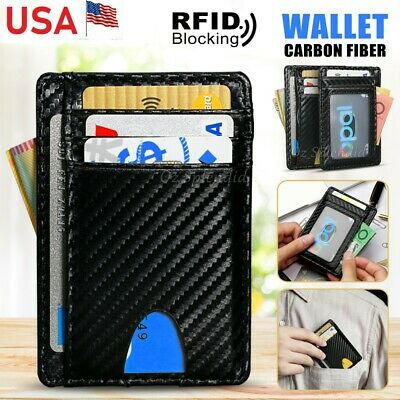 RFID Blocking Genuine Leather Slim Card Holder Case Money Clip Wallets For Men