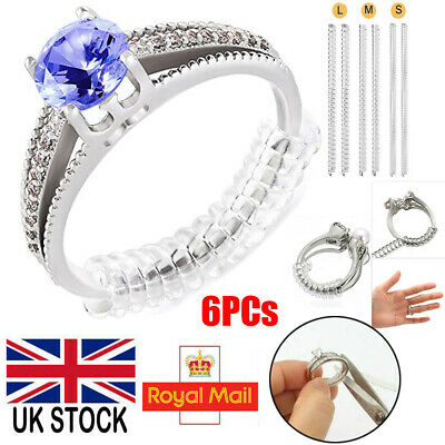 6PCS Ring Size Reducer Clip Guard Spiral Adjuster Size Resizer Snuggies Soft UK