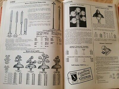 Electric Catalog Vintage 1952 Industrial Lighting Shade Benjamin Lamp Cage Bulb