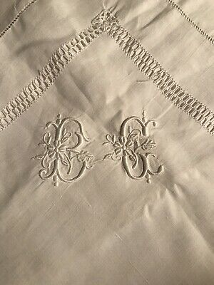 "High Quality Antique French Linen Pillowcase With Monogram ""B.G"" - Read Descrip."
