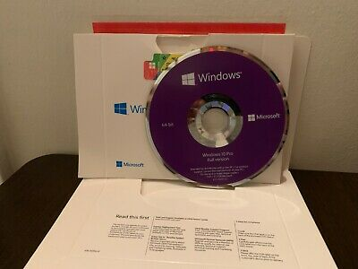 Microsoft Windows 10 Professional pro 64 bit FULL VERSION W/ DVD + PRODUCT KEY