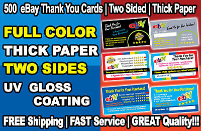 500 eBay Seller Thank You Cards Elegant, High Quality, FREE Shiping Great Design