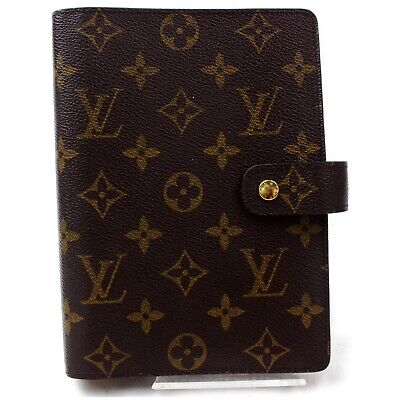 Authentic Louis Vuitton Diary Cover Agenda MM Browns Monogram 820245