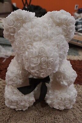 Rose Teddy Bear Snow White With Black Bow-large Brand New