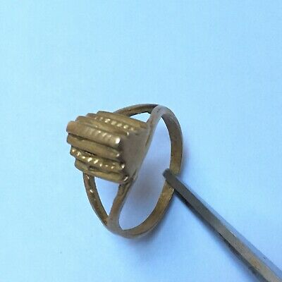 Antique Rare Extremely Ring Bronze Legionary Roman With Stone Authentic Artifact