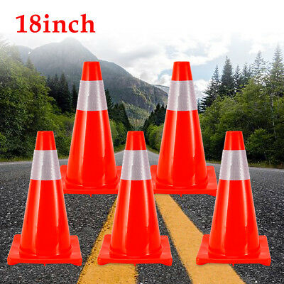 """5× 18"""" Road Traffic Cone Barrier Training Safety Cone Reflective Caution Strips"""