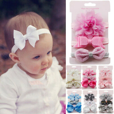3pcs Girls Newborn Headband Ribbon Elastic Baby Headdress Kids Hair Band Bow NEW