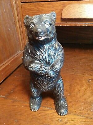 cast iron standing brown bear penny bank