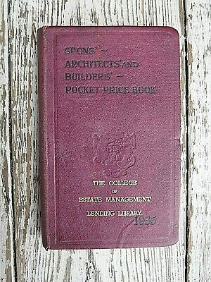 Vintage Spons' Architects' And Builders Pocket Price Book 1935