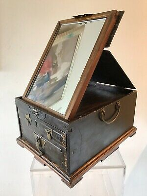 Antique Chinese Wood Fold Up Cosmetic Jewelry Vanity Box Mirror