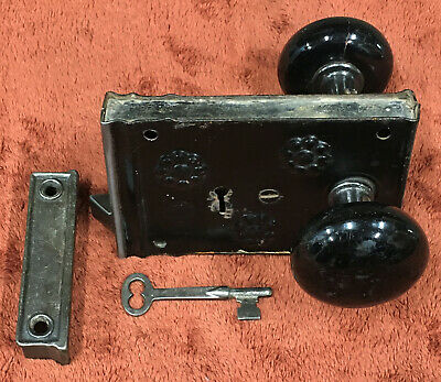 Antique Russell & Erwin Rim Lock with Black Marble Knobs, Key and Striker