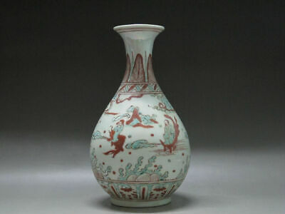 China Red and green glaze porcelain old Vase Painted figure Wanli Mark H:11inch