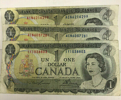 Canada  1973 One Dollar X  3 Circulated Banknotes..scarce Date