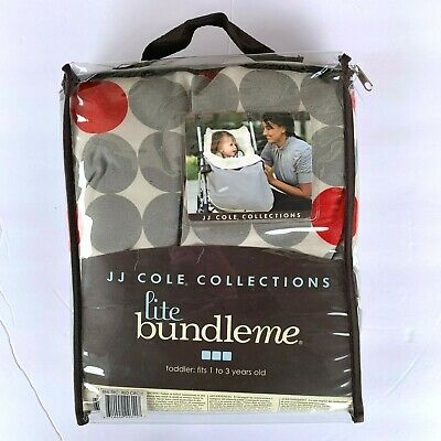 JJ Cole Collections lite bundle me stroller cover gray red dot toddler 1-3 yrs