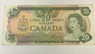 """Canada  1974  $20.00 Dollars """" Lawson / Bouey """" Excellent Banknote"""