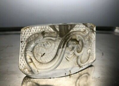 Antique Chinese Rock Crystal Chape Sword Fitting Carving Dragon
