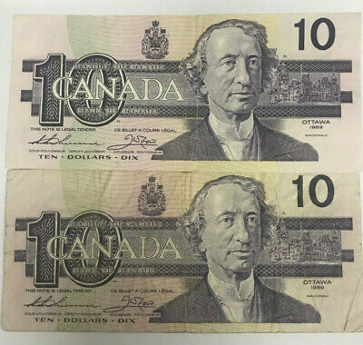 Canada 1989 $10.00  Pair ,Thiessen / Crow , Key Signature Circulated