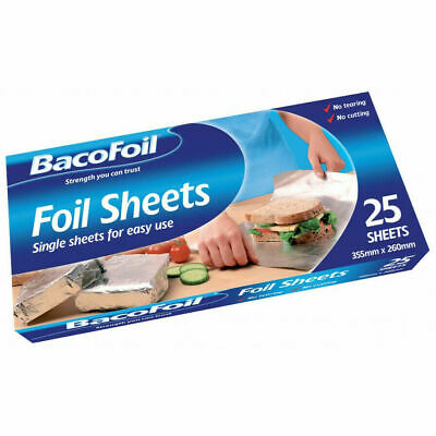 Aluminium Foil Sheets Tin Pre Cut Pop Up Bacofoil Baking Catering Extra Strong