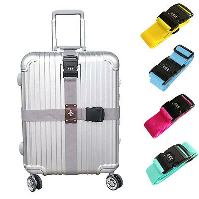 Adjustable Luggage Strap Cross Travel Suitcase Password Secure Lock Packing Belt