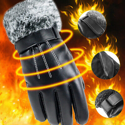 Running Skiing Cashmere Gloves PU Leather Touch Screen Mittens Faux Fur Gloves