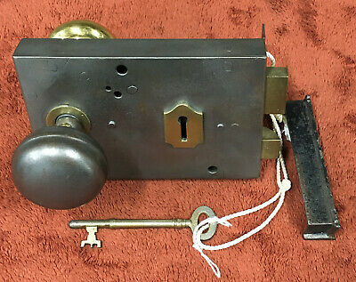 Antique Large Victorian Rim Lock with Knobs, Striker and Key