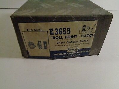 "NOS Vintage Box of 24 ""Roll Point"" Catch E3655 Amerock New Unused J7-29"
