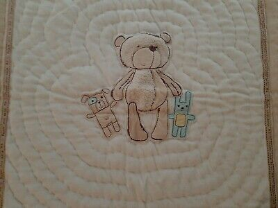 Mothercare Beige Cute Bear Baby Blanket Cotton Quilted 4 Tog Used
