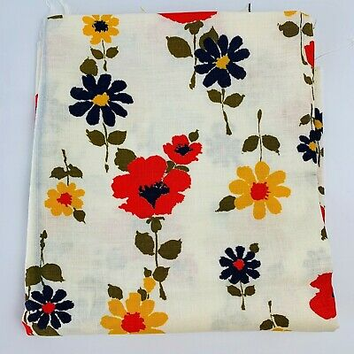 Vintage Linen Fabric 1960's Daisies on Ivory Red Yellow Blue Flowers Wamsutta