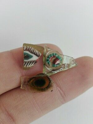 Ancient Egyptian Roman 3 Fragment Eyes Glass Mosaic Beads Egypt Antique Rare Old