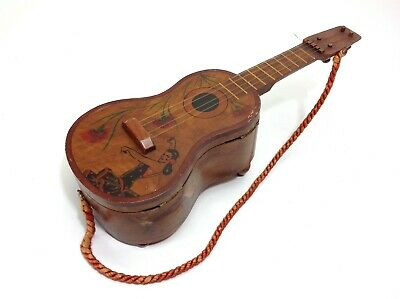 Vintage Spanish Guitar Wooden Musical Jewelry Box