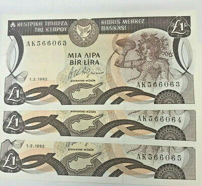 Cyprus 1992 One Pound Consecutive Trio ..Very Scarce And Uncirculated