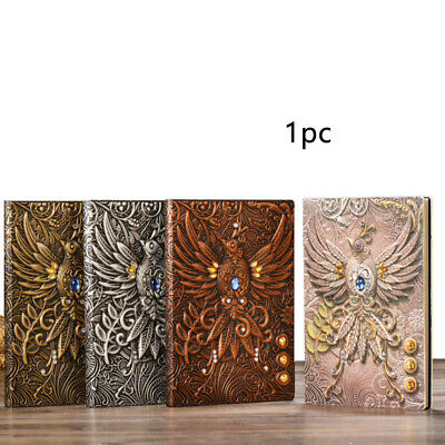 Journal Notebook Refillable Notepad Diary Vintage PU Leather Travel Bronze, Silv