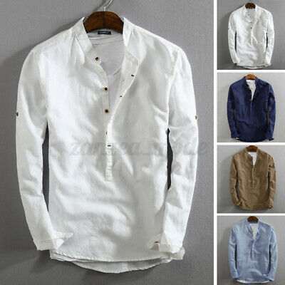 Retro Mens Linen Slim Fitted Henley T-shirt Top Long Sleeve Casual Smart Shirts