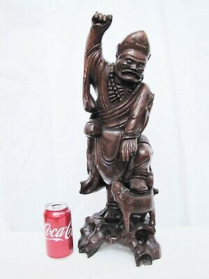 """Antique Large 21"""" Chinese Carved Wood Figure Statue."""
