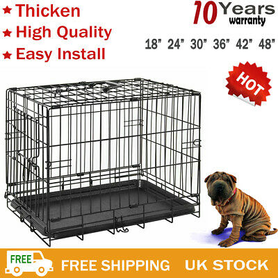 Pet Cages Metal Dog Cat Puppy Training Folding Crate Animal Transport Tray 2door
