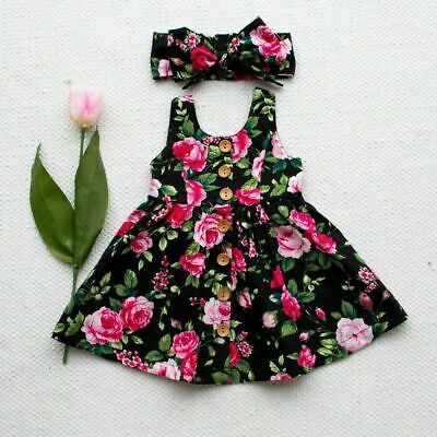 USA Toddler Kids Baby Girls Outfits Floral Dress Princess Party Top Dresses