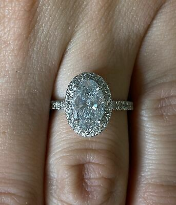 2.50 Ct Oval Cut Diamond Halo Solitaire Engagement Ring 14K White Gold Finish