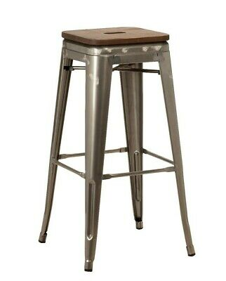 Tolix Style Bar Stools With Wooden Seat Board - Cafe, Restaurants, Breakfast Bar
