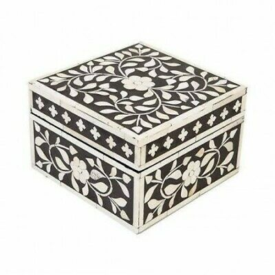 Antique Handmade Decorative Designer Bone Inlay Box Floral Pattern Jewelry Box