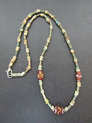 NILE  Ancient Egyptian Amulet Glass Bead and Mummy Bead Necklace ca 600 BC