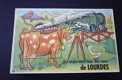 65. n°150105 . lourdes.train vache.carte a systeme multivues