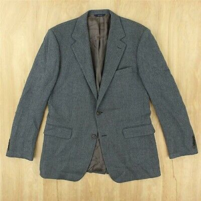 BROOKS BROTHERS lambs wool blue herringbone blazer jacket 39 REGULAR italy