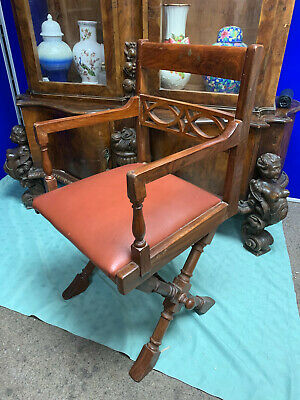 Vintage 1960 Inlaid Trestle Campaign Chair Extremely Rare
