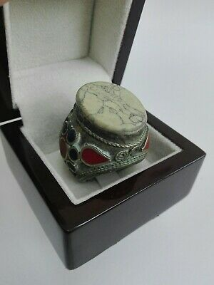 Vintage Afghan Ring Silver Handmade Antique Stone Marble Rare Unique Very Beauty