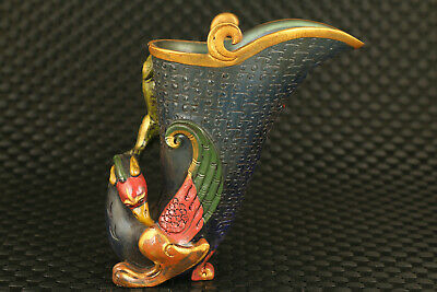 Chinese old glaze Hand carved dragon and phoenix statue wine cup noble decor