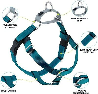 """Teal Freedom No-Pull Dog Harness MADE IN THE USA 5/8"""" Small"""