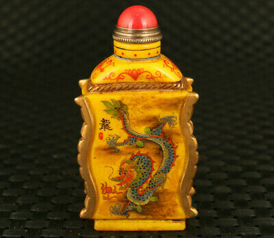 rare old coloured glaze hand painting dragon snake statue bamboo snuff bottle