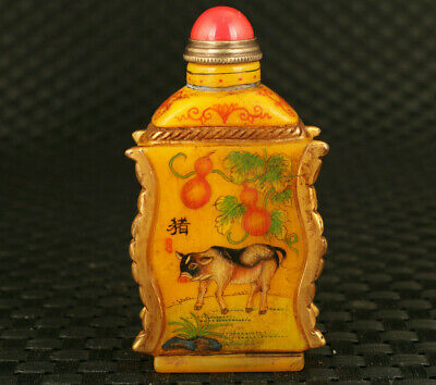 Chinese old coloured glaze hand painting pig dog figure statue snuff bottle